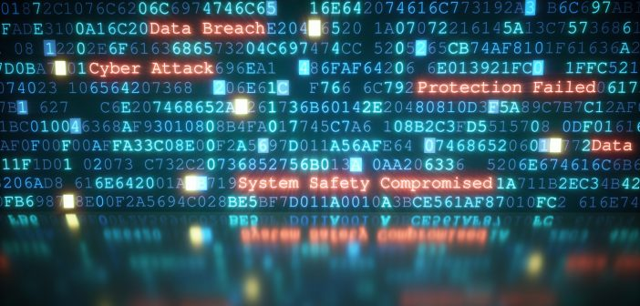 A close-up on an abstract design of a display, which is warning about a cyber attack. Multiple rows of hexadecimal code are interrupted by red glowing warning text. Part of the display is reflected on a shiny surface. The image can represent a variety of threats in the digital world: data theft, data leak, security breach, intrusion, etc...