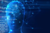 3d rendering of human  brain on programming language background