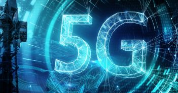 Creative glowing 5G backdrop. Mobile internet concept. 3D Rendering